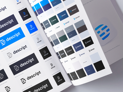 Descript Brand Guide app icon logotype branding color palette wordmark rounded corner typography user experience user interface icons logo app transcription brand book identity style guide brand
