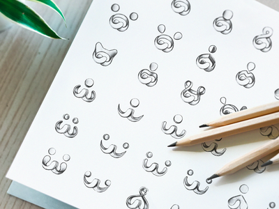 Early Brand Sketches icon shade sketches draft pen drawing mark symbol fitness logo brand branding traditional art hand-drawn friendly shapes exploration sketch
