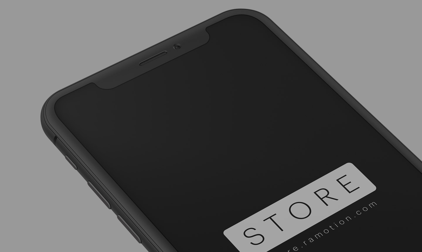 Iphone x clay black perspective mockup top psd