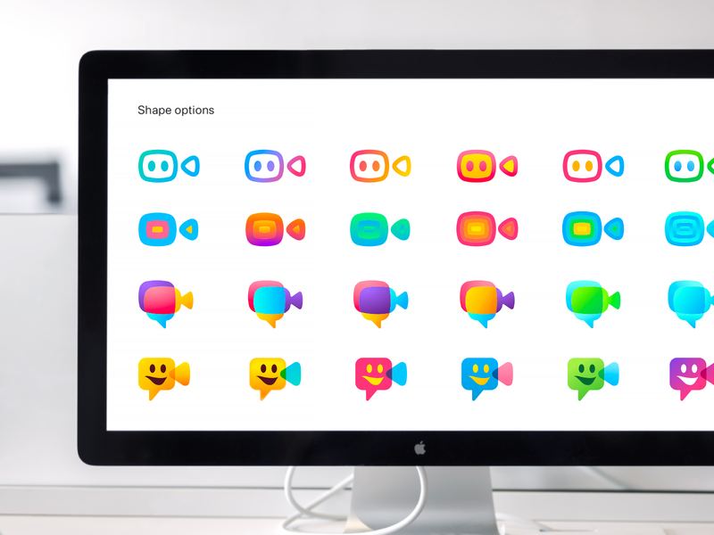 Justalk Colors & Shapes Exploration gradient fun chat bubble shape exploration color combination colors palette friends chat call video conference call video meeting application mobile app design icons app icon bright colors ios app branding brand style identity camera
