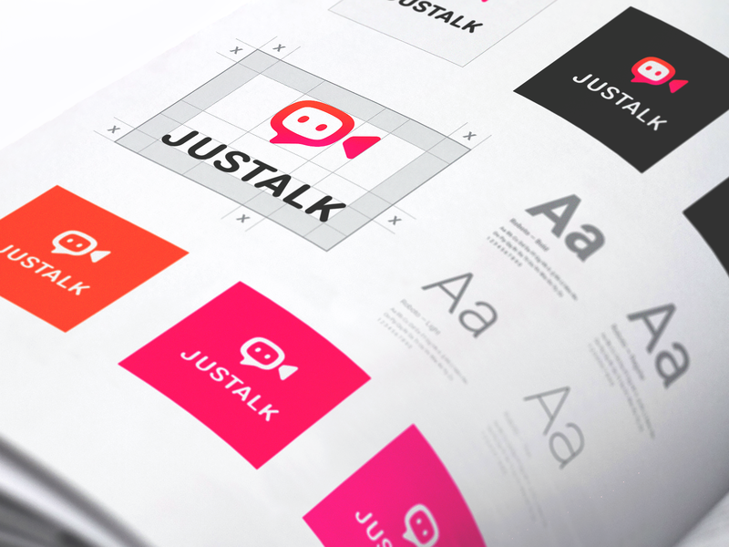Justalk Brand Identity clear space padding typeface style guide branbook design guide friends chat call video conference call video meeting application mobile app design icons app icon bright colors ios app branding brand style identity camera