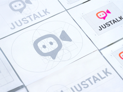 Justalk Logo Grids grid structure padding spacing sketches hand-drawn logo branding brand fun direction camera chat video bright social logo construction brandbook bubble emoji playful fun sign mark chat service logomark brand identity designer