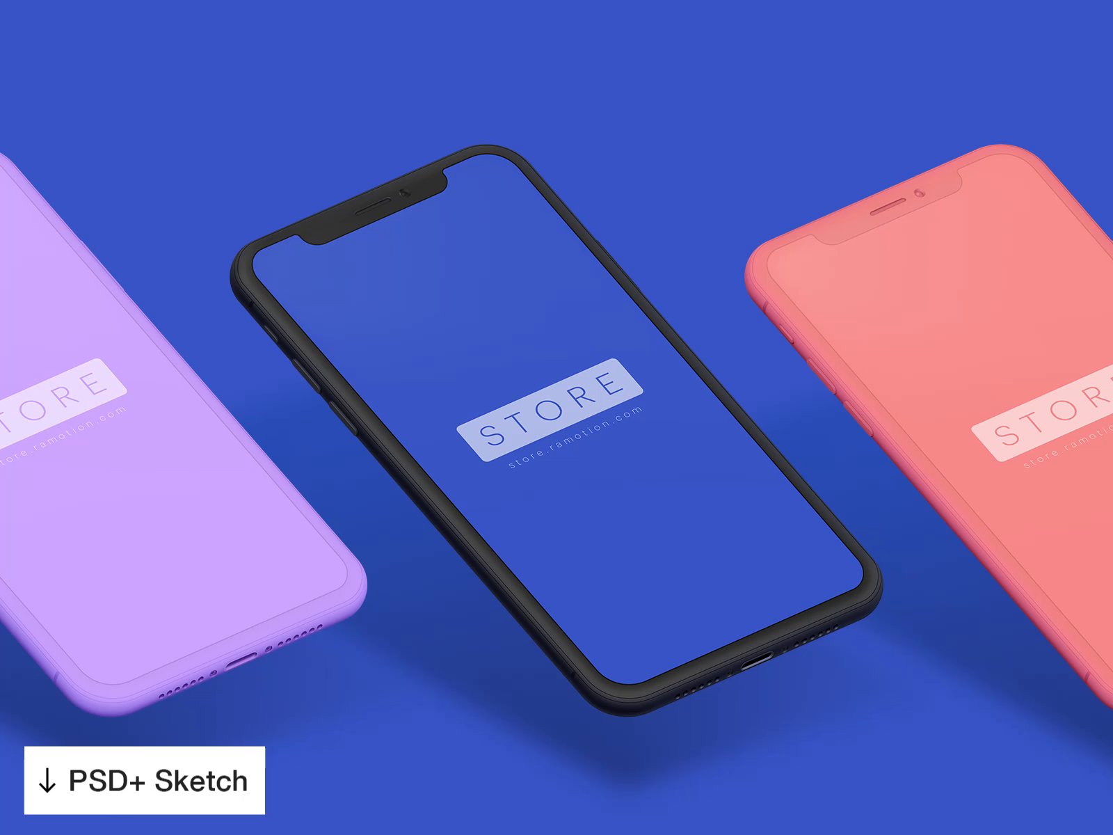 Iphone x clay mockup psd sketch template