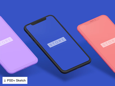iPhone X Clay Multicolor Mockups [PSD+Sketch] 💎