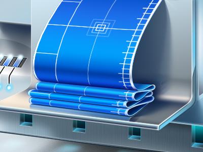 Illustration for a website illustration ramotion slevenbits metal texture website page development code blueprint lighting shadows glowing hard drive hdd sci-fi hi-tech icon design