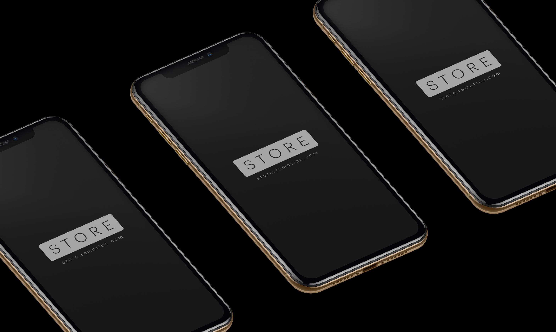 Iphone xs gold isometric mockup 2x