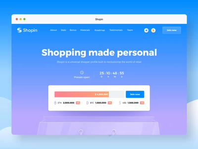 Shopin Homepage Animation Part 1 purchase customer data secure shop profile commercial marketing site user experience designer user interface homepage web animated interaction website scroll transition landing page animation ui ux design
