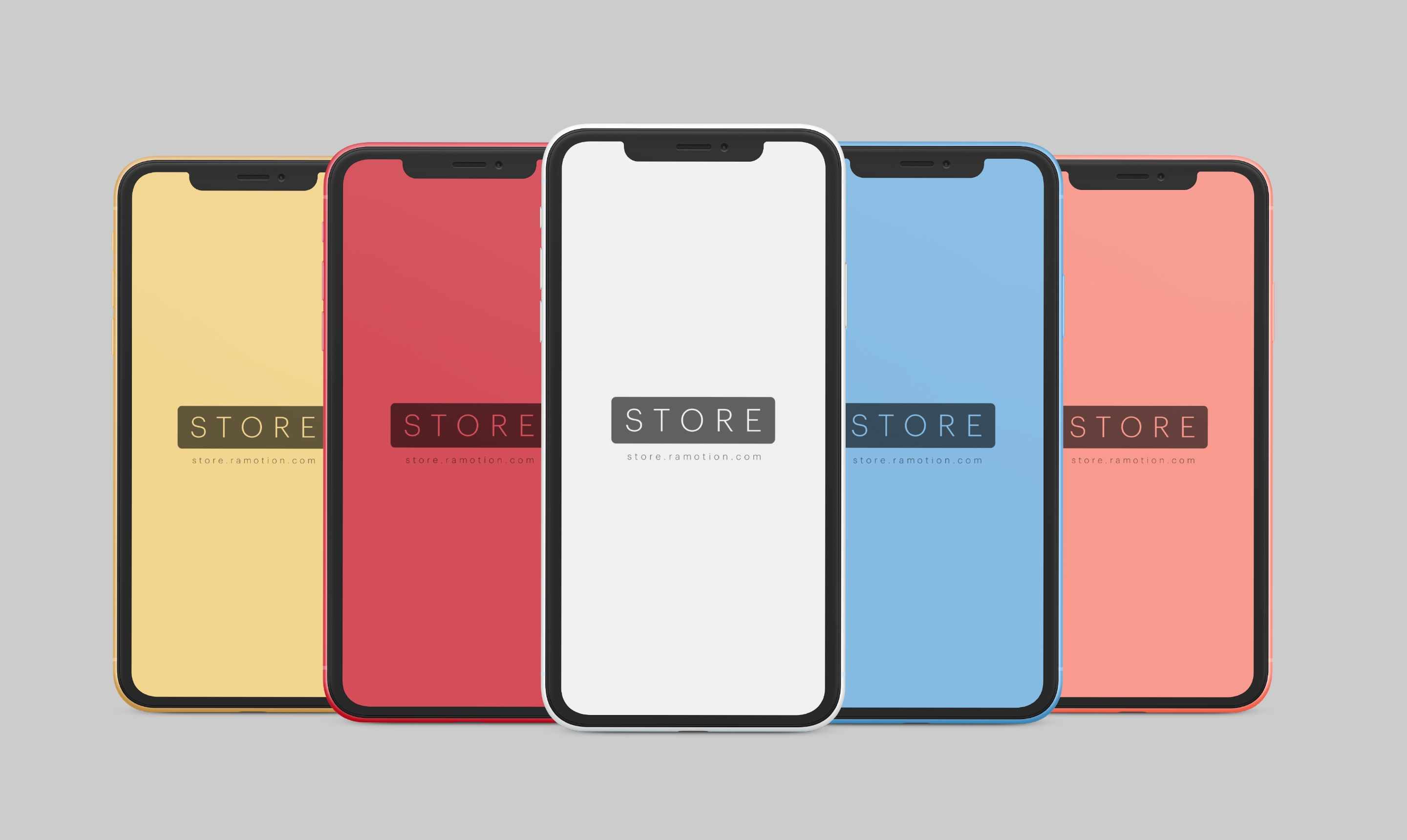 Iphone xr clay 4 colors frontal psd 2x