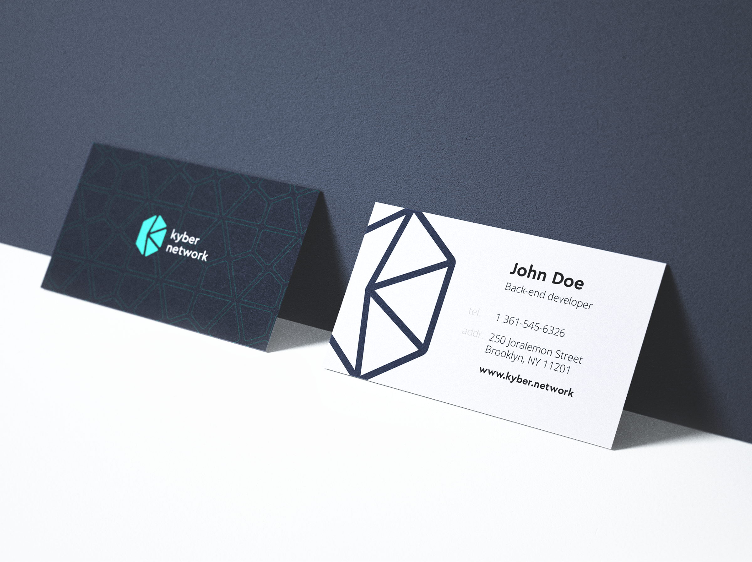 Kyber network business cards ramotion