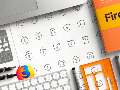 Firefox Monitor –Brand Identity Sketches security icon grid ui design designer mozilla brand assers tower shield lock firefox symbol sign hand drawn comcept logo app iconography logotype sign work geometrical exploration art branded shapes patterns brand identity sketches branding logo icons