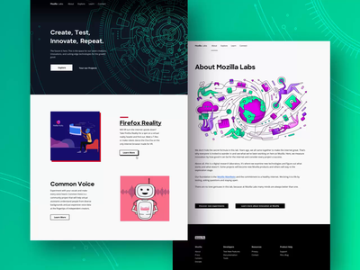 Mozilla Labs – Web Design ux ui colorful art illustration web page header smooth parallax transition marketing web design front end development user experience user interface about home webpage website landing page web site illustration ui ux design