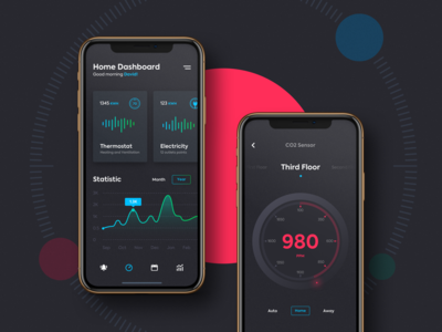 Remote Home Control visual interface application iphone xs ios color bars chart smart home dashboard user experience designer user interface design mobile app design ui ux design
