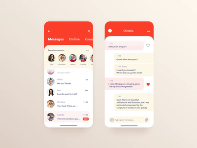 Messenger – Mobile Concept ux ui chat app screen visual interface application smart home dashboard user experience designer user interface design mobile app design ui ux design animation transition interaction mobile app concept application development parallax effect