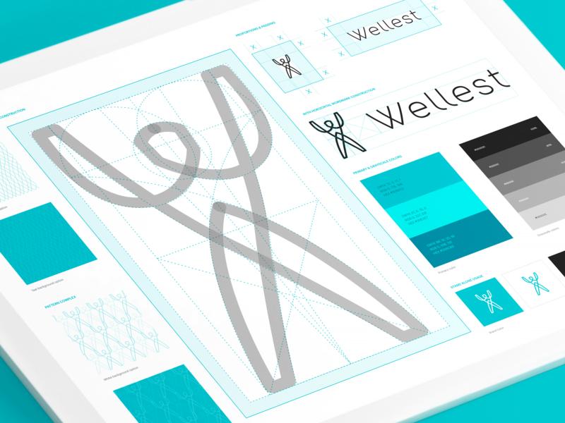Wellest – Brand Guidelines illustration logotype color identity grid symbol wordmark design ui brand identity process icon logo styleguide guideline branding