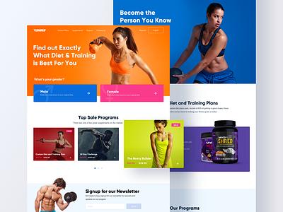 Vshrеd Website Design web design product design ux design ui design webdesign layout colorful colors landing page web girl fitness marketing website ux ui