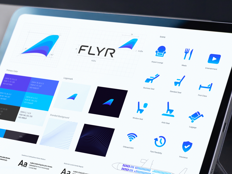 Flyr – Brand Identity Design Guidelines typeface iconset logotype wordmark symbol styleguide identity design brand identity design logo identity guideline design branding brand identity