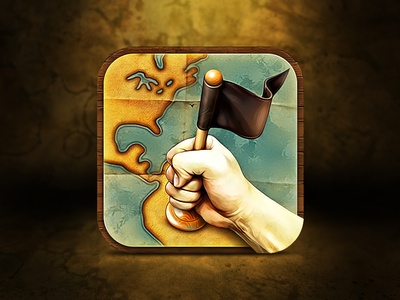 Application icon for upcoming iOS Game icon illustration ramotion app ios design map flag hand water black ground wood texture vintage strategy blue mobile store ui