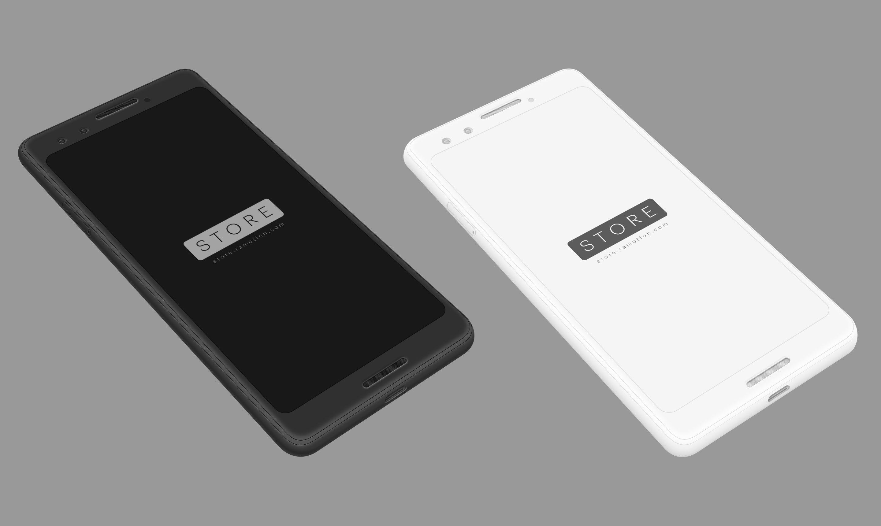 Google pixel 3 clay white black perspective mockup top psd 2x