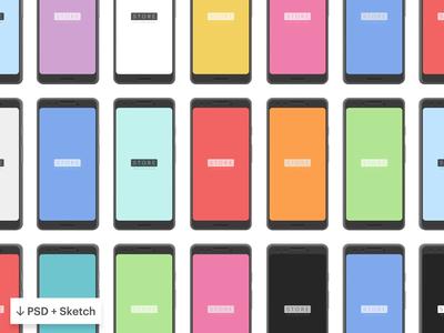 Google Pixel 3 Clay PSD Sketch Mockups