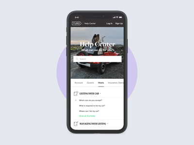 Turo Support Portal help center helpdesk mockup car ramotion landing page web design webdesign support portal support ui ui kit user interface ipad iphone website
