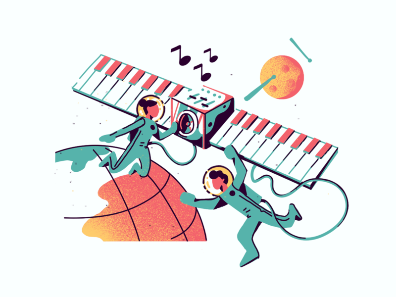 #Randominds: Music Satellite illustration digital illustration design illustration art ui design ui sound piano satellite moon ramotion 2d design 2d art characters illustration music space