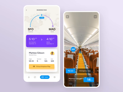Mobile App Concept – Airline industry, AR experience augmented reality ar app development agency mobile app development ux app interface ui application ux ui user interface design user experience ramotion