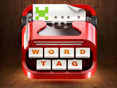 WordTag Game App Icon icon icons ramotion app application ios game illustration word tag wordtag red realistic paper metal typewriter writer type button key