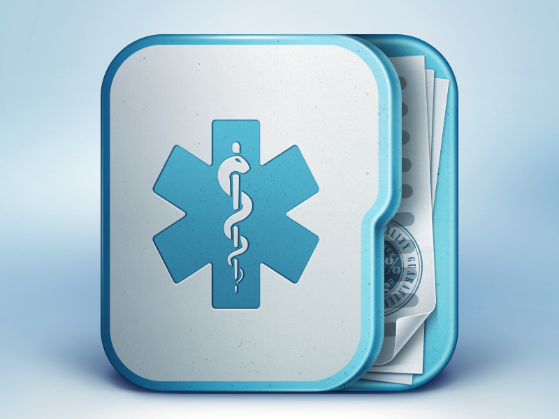 Medical App Icon medicine icon icons ramotion app application medical appstore iphone ipad ios folder blue white texture snake paper stamp mobile design