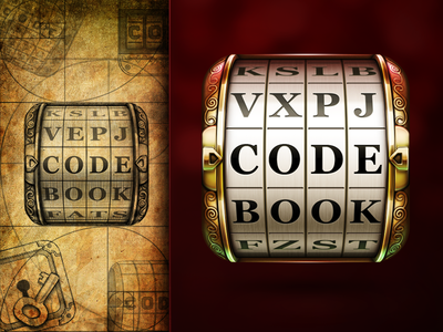 Codebook App Icon ramotion application ios appstore illustration realistic metal gold word text code book sketch pencil paper golden cryptex reflection red background