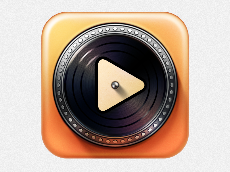 Turnplay v.1.1 ramotion design icon icons app texture metal appstore application mobile ios ipad orange black music record turntable vinyl turnplay logo