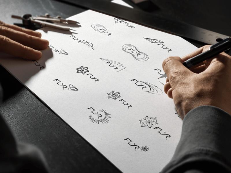 FLYR Logo Sketching Process