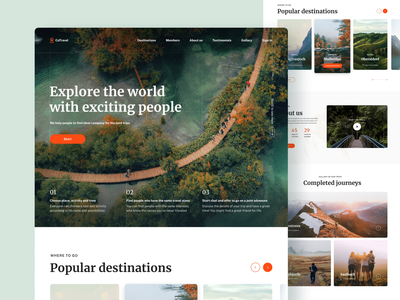 Co-hiking landing page travel app page layout app website front end developer homepage web layout web ui design web ui ui design web app landing page ui