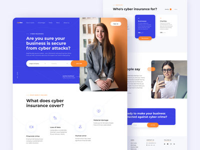 Cybersecurity Website ux portfolio web concept clean ui page layout blue website corporate website front end developer web layout web ui design web app web ui ui design ramotion ux ui homepage landing page web design company