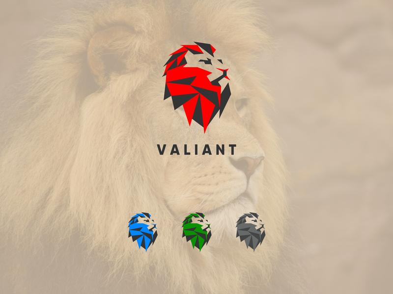 VALIANT lord lion logo lion head lion letter king gym fitness finance emblem design crest creative cat business logo business build brut animals animal