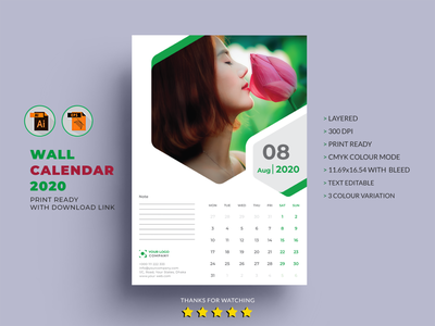 12 Pages Cover Wall Calendar Template 2020 By Md Mohiuddin On Dribbble