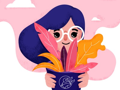 Wonderful plant dribbler girl illustration girl plant plant illustration illustator dribbble adobe ilustrator adobe illustrator draw adobe vector pink textured illustration