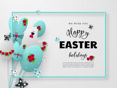 Easter papercut holiday design.