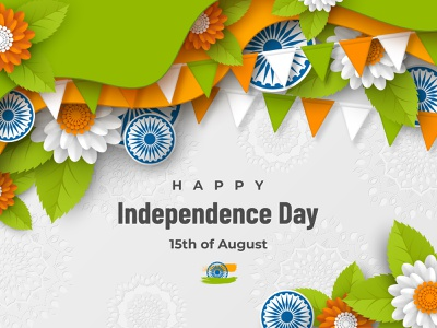 Indian Independence day holiday design. background abstract illustration design leaves holiday 3d art wheel layered papercut flowers vector color tricolor flag national republic independence day indian india