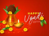 Happy Ugadi holiday composition - Hindu New Year festival.