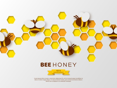 Papercut honey vector composition.