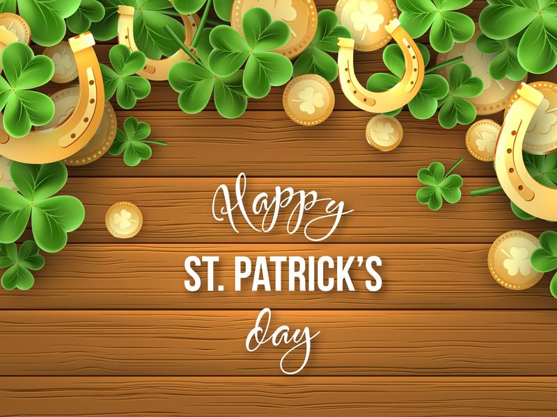 St. Patrick's day vector composition. leaves shamrock saint wooden celebration charm metallic coin golden horseshoe clover holiday vector 3d st patricks patricks day