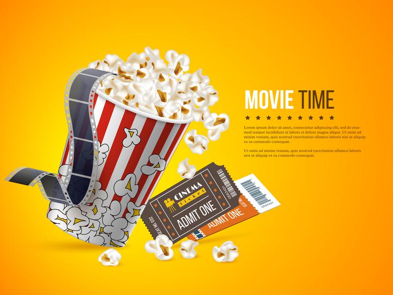 Cinema and movie poster design. reel tv cinemagraph background design illustraion yellow entertainment film online tickets popcorn movie poster movie cinema 3d vector