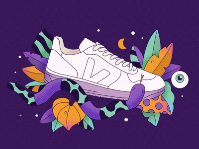 Sneaker Illustration for Veja veja snake plants nature sneaker pattern vector illusrtation