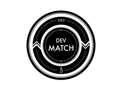 Dev Match white black circle symbol web concept illustrator icon logo