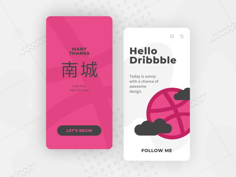 Hello Dribbble debut clean dribbble hello weather app mobile ui design design ux ui
