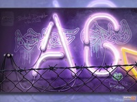 Photoshop Realism Digital Art - Neon Light Sign Monogram
