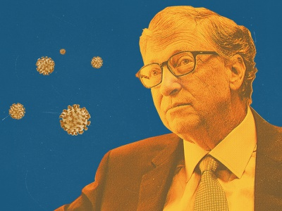 Bill Gates Is Fighting the Coronavirus in His Third Act bill gates collage print editorial design portrait politics editorial illustration poster illustration art direction graphic art design
