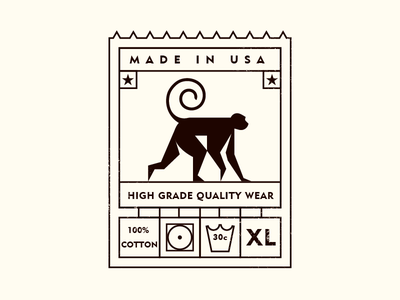 MADE IN USA badge tag monkey usa