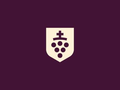 Saint wine grape heraldry crest winery bottle wine saint
