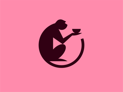 Monkey with bowl animal symbol ramen food japan bowl restaurant mark logo monkey